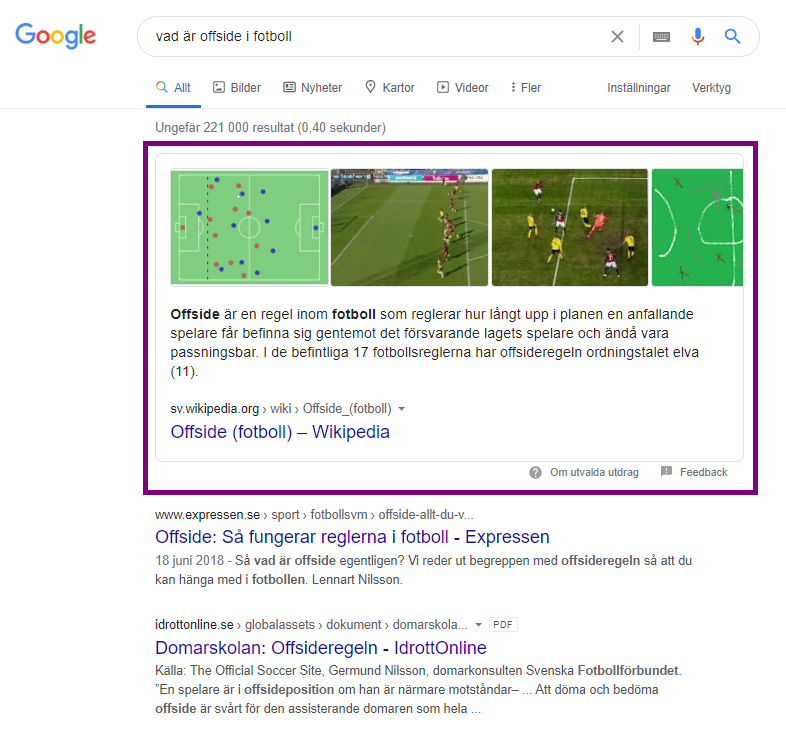 featured snippet ordlista